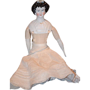 Old Doll German Bisque China Head Lady Limbach Fancy Sculpted Hair with Mold Bow and Bodice