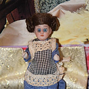 Antique Doll Miniature All Bisque Dollhouse French Market TINY Original Clothing