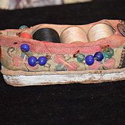 Old Oriental Sewing Kit Shoe Shape with Beads and Spools of Thread Unusual Miniature Spool Holder