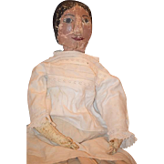 Old Doll Oil Cloth Rag Doll Unusual Painted Features Molded Features