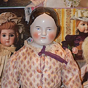 Antique Doll China Head Covered Wagon Large Fancy