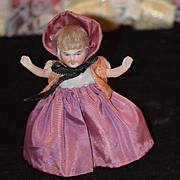 Antique Doll All Bisque Miniature Dollhouse Dressed Smiling