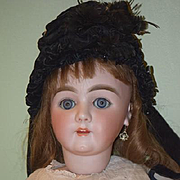 Antique Doll French Hat Beaded Bonnet W/ Spiders Sewn  Feathers WONDERFUL