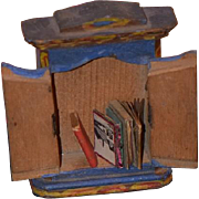Wonderful Doll Miniature Painted Wardrobe Chest with Old Miniature Books For Dollhouse