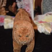 Old Doll Toy Stuffed Lion With Unusual Face Cloth Folk Art