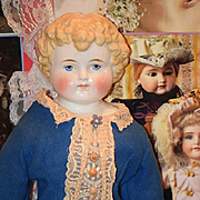 Antique Doll China Head Unusual Hair Style
