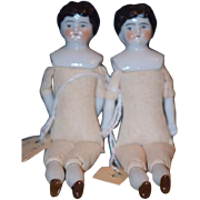 Antique Doll Miniature China Head Twins Two Dolls Dollhouse Provance Were on the Lusitinia