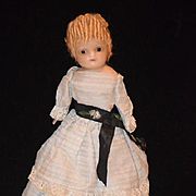 Antique Doll Wax over Papier Mache Fancy Hair Style Cabinet Size Glass Eyes