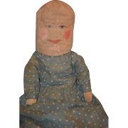 Wonderful Doll Cloth Folk Art Rag Doll Big Unusual Painted Features