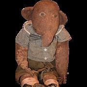 Old Cloth Doll Animal Stuffed Anteater FOLK ART Unusual Large Doll Toy