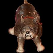 Old Schoenhut Wood Carved Bulldog Humpty Dumpty Circus Jointed Dog Bull Dog