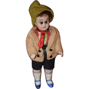 Antique Doll All Bisque Miniature Dollhouse French Market Dressed Darling Boy