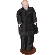 Antique Doll Miniature Bisque Dollhouse Man Dressed in Suit Sideburns