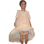 Antique Doll Carved Wood Large W/ Stick Mechanism Unusual Processional Figure