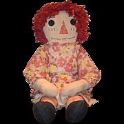 """OLD Doll Cloth Raggedy Ann UNUSUAL HUGE Wonderful Clothes 34"""""""