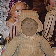Antique Doll Cloth Rag Doll Folk Art Wonderful