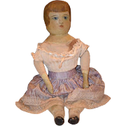 Wonderful Doll Cloth Oil Painted Doll Unusual Folk Art Primitive