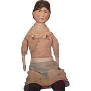 Old Doll Unusual Wood and Cloth Doll Painted Features