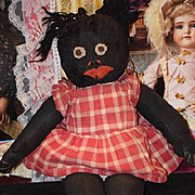 Old Doll Cloth Black Rag Doll Unusual