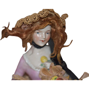 Old Doll Fancy Half Doll China Head Solid Dome with Wig and old Clothes