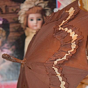 Old Doll Parasol Umbrella Wood Carved Handle Silk Display For Fashion Dolls