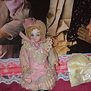 Antique Doll All Bisque Miniature Dollhouse Original Clothes
