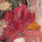 Old Doll Fancy Hat Head Piece Feathers Ornate WONDERFUL JOHN FREDERICS Feathers