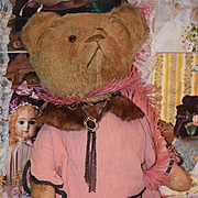 Antique Teddy Bear Doll Toy Wonderful Mohair Glass eyes Sweet outfit!