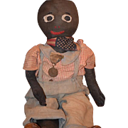 "Old Doll Cloth Black Rag Doll Folk Art Unusual LOVE HIM! 26"" Tall"