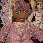 Old Doll Cloth Rag Doll Folk Art Unusual Black Sewn on Features