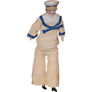 Old Doll Miniature Sailor Bisque Dollhouse Character Doll