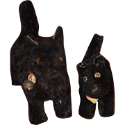 Old Steiff Dog Set Terriers For Doll Toy! Baby Scotty and Daddy Scotty