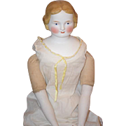"""Antique Early Circa 1850 A W Fr Kister Doll Parian Gorgeous W/ Wonderful Face and Old Body 25 1/2"""" China Head"""