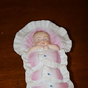 Old Doll Piano Baby Bisque Doll in Basket Vanity Jar Crib W/ Lid Miniature Dollhouse