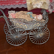 Antique Doll Pram Carriage Old Ornate Tin & All Bisque Baby Doll Ornate Wonderful Miniature Set