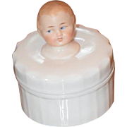 Old Doll Bisque Head Vanity Jar Character  Wileman / Foley / Shelly  Miniature Porcelain