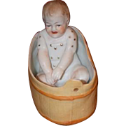 Old Doll All Bisque in Bisque Bath Tub Fussy Baby Figurine