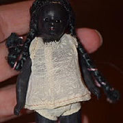 Antique Doll Black All Bisque Miniature Dollhouse Glass Eyes Kestner