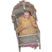 Antique Doll Miniature All Bisque Jointed IN Ornate Metal Bed Dollhouse Kestner