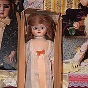 Antique Doll All Wood Carved Jointed Doll in Original Box W/ Clothes Glass Eyes