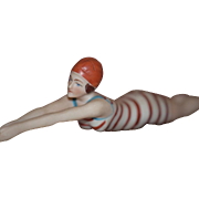 Old Doll Bathing Beauty Swimmer Diver Bisque Figurine