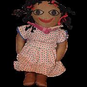 Old Doll Cloth Rag Doll Unusual Black Cloth Doll Sewn Features CUTIE!!