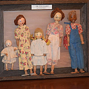Old Doll Set Schoenhut The Pinn Family  Framed Wood Dolls Carved Dressed FIVE DOLLS!!