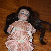 Antique Doll Miniature All Bisque Pink Socks Swivel Neck Dollhouse Unusual Simon & Halbig