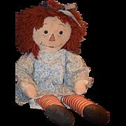 """Old Doll Raggedy Ann Cloth Doll Button Eyes Rag Doll HUGE 30"""""""