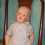 Antique Doll Bisque Baby Toddler Open Closed Mouth Big Boy!! Solid Dome 27""