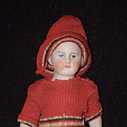 Antique Doll All Bisque Miniature Dollhouse Solid Dome Fancy