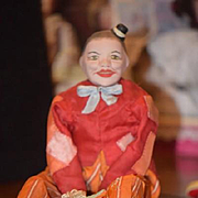 Antique Doll Mechanical Papier Mache Doll Paper Mache Mechanical Wind Up Jester Clown Riding