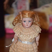 Antique Doll All Bisque Miniature Dollhouse Cabinet Size