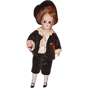 Antique Doll French All Bisque Miniature Dollhouse Boy Dressed WONDERFUL